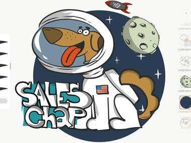 Dog in space illustration