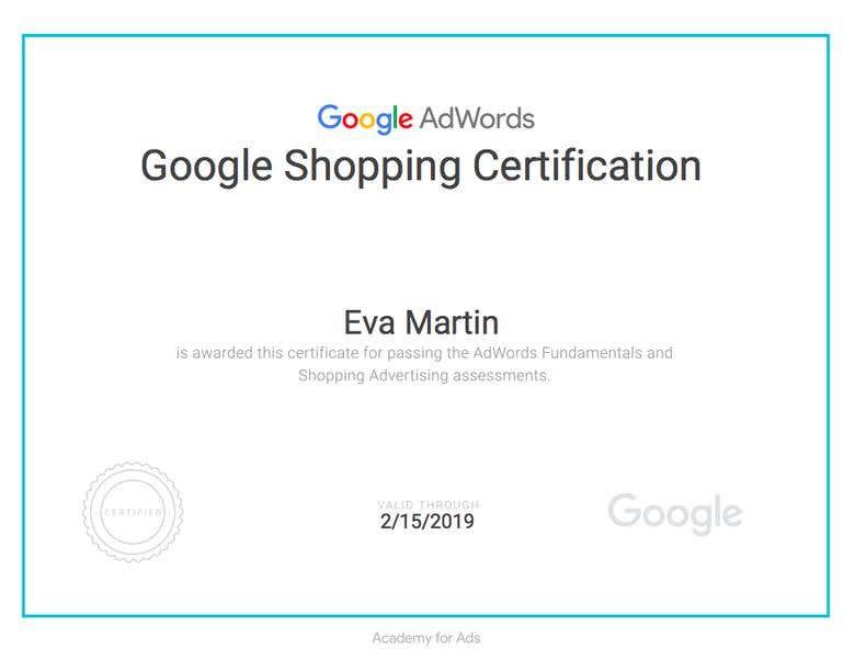 Google Shopping Certification Freelancer