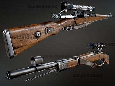 3d model of a bolt action rifle