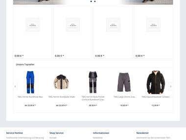Apparel site developed in shopware.