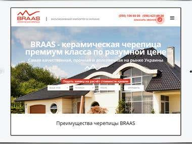 Landing page for company importer of roof tile Braas