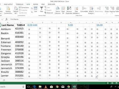 Spreadsheet arrangement for attendance