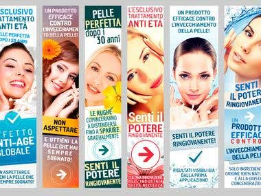 "Banners for the ""Maxilift facial cream"" ad campain"