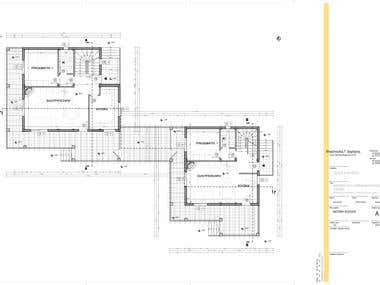 Plan drawing of a 2-storey residential building