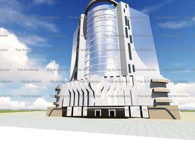 3d modeling rendering highrise building
