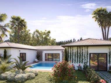 House and landscape design using 3Ds max