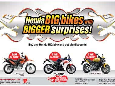 Honda Big Bikes advertising Design