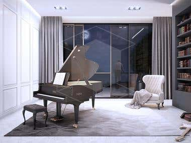 Music room - Architectural visualization