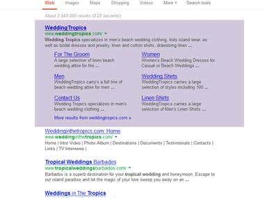 1st Place Google Ranking for Wedding Term