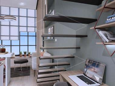Small functional loft - Architectural visualization