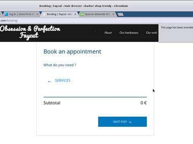 barber shop booking functionality