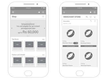 Wireframe Shopping App