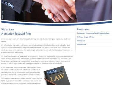 Vision Law Wordpress Site