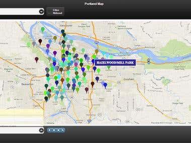Portland Neighborhood map - Mobile web apps