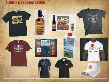 T-shirts & packaging