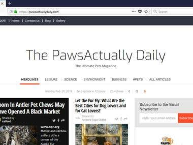 Paws Actually Daily ( An automated content pulling pet blog)