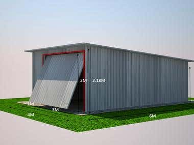 Metal Sheet Garage- Technical Documentation with 3D & 2D