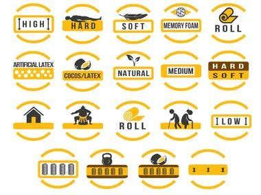 Textile company Icons design