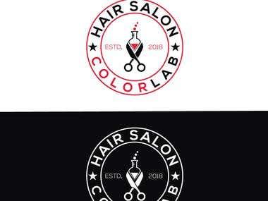 Hair salon color lab logo design with high quality.