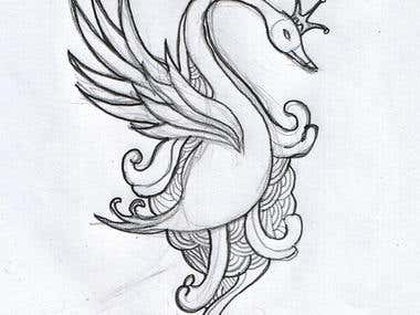 t-shirt design (royal swan)