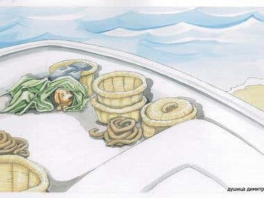 "Illustration from picture book ""Molly and the Fishermen"""