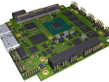 PCB Layout and 3D model for PC104 Intel Atom 38xx board