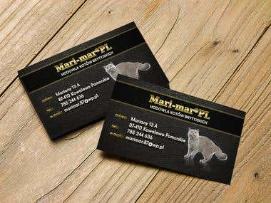 Business card for a breeding cats company.