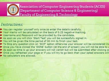 An online test website