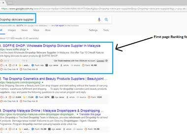 Google First Page Ranking - Dropship skincare supplier