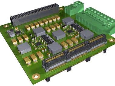 3D PCB model for PC104 power supply