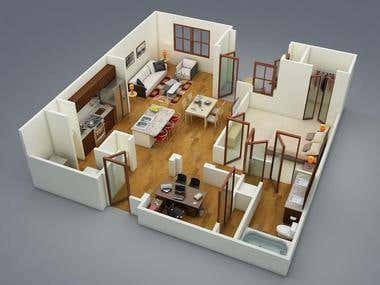 3D Floor Plan Model Design