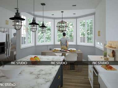 3d Modeling & Render Kitchen