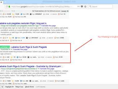 Latvia Google 1st page ranking
