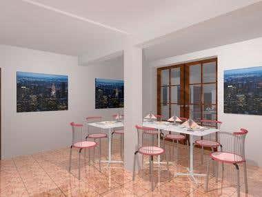 set of 3d architeture renders for interior