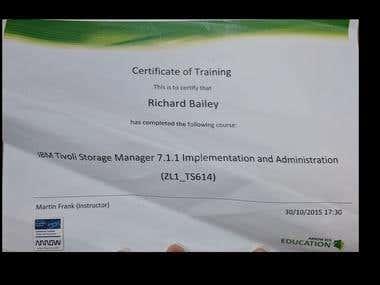 TSM 7.1.1 Certificate