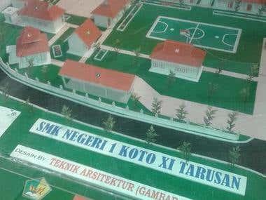 Maket Gedung sekolah SMKN 1 Koto XI Tarusan