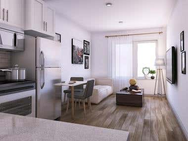 Small 1 Bedroom Apartment Visualization,USA