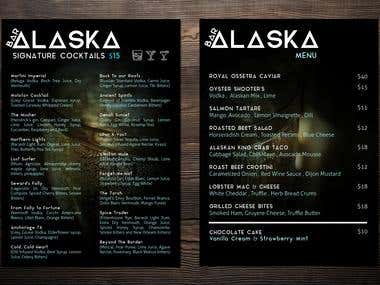 Alaska Bar sample menu