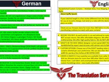 German to English Translation Work.