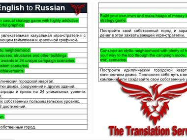 English To Russian Translation Work.