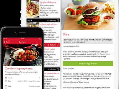 mobile app and responsive web - slimming world screenshot