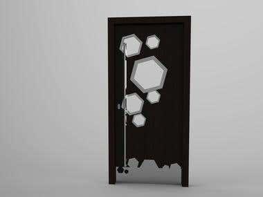 Door with hexagon windows