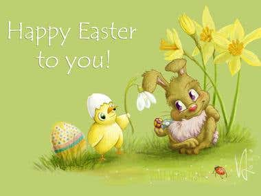 Happy Easter - illustration / greeting card