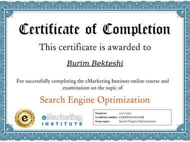Search Engine Optimization Cerftificate