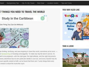 Wrote travel articles for backpacking site