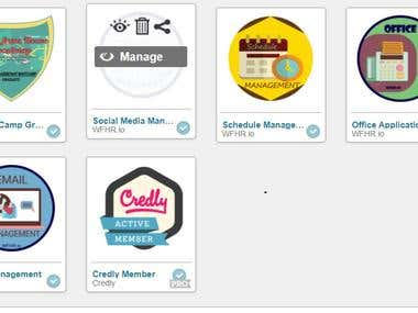 Badges earned for completing lesson and modules