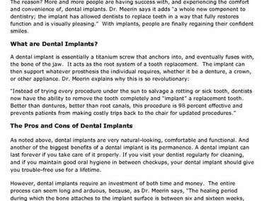 Website Copy - Dental Practice