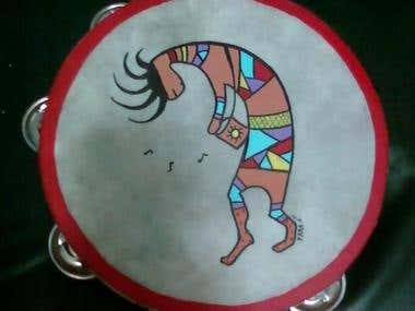 Kokopelli hand painted tambourine