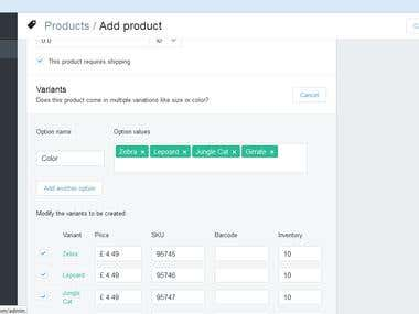 Shopify Product Upload