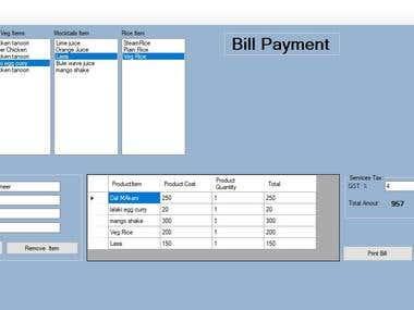 Restaurant & billing Application.
